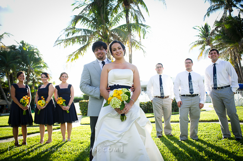 By The Sea Hotel Bride And Groom With Wedding Party Delray Beach