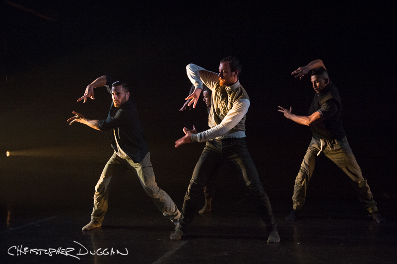 "Joseph Kudra, Andrew Wojtal, and Miguel Perez of BODYTRAFFIC in ""Once again, before you go""; photo Christopher Duggan"