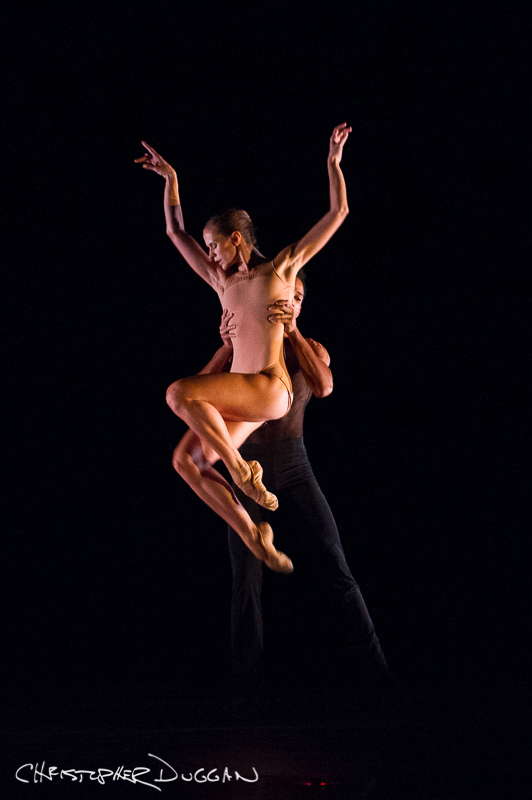 "Kristianne Kleine and Ricardo Rhodes of The Sarasota Ballet in ""In A State of Weightlessness"""