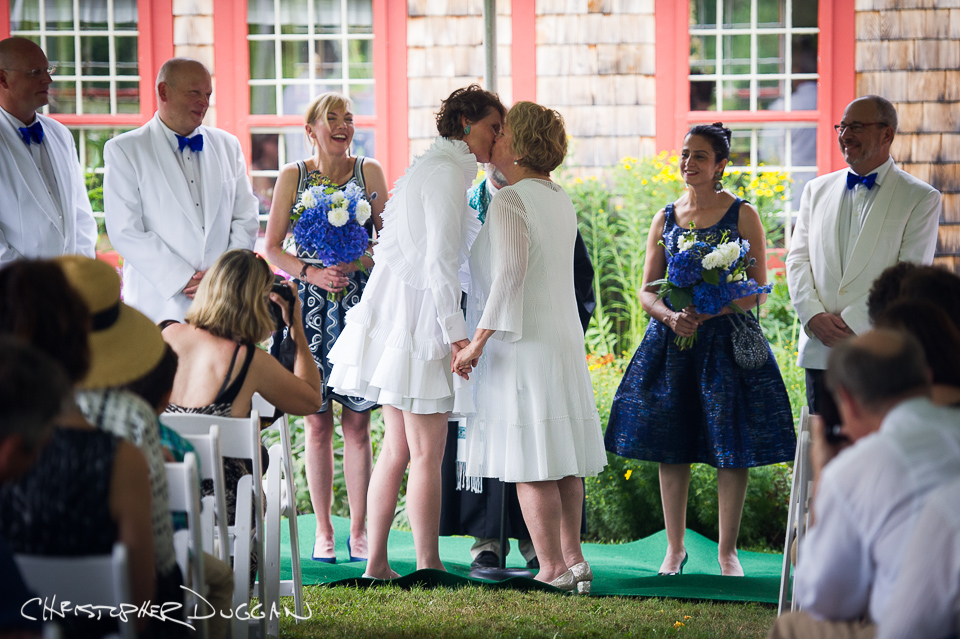 Stephanie & Anne's Private Home Wedding Photos in the Berkshires. Photo Credit: Christopher Duggan