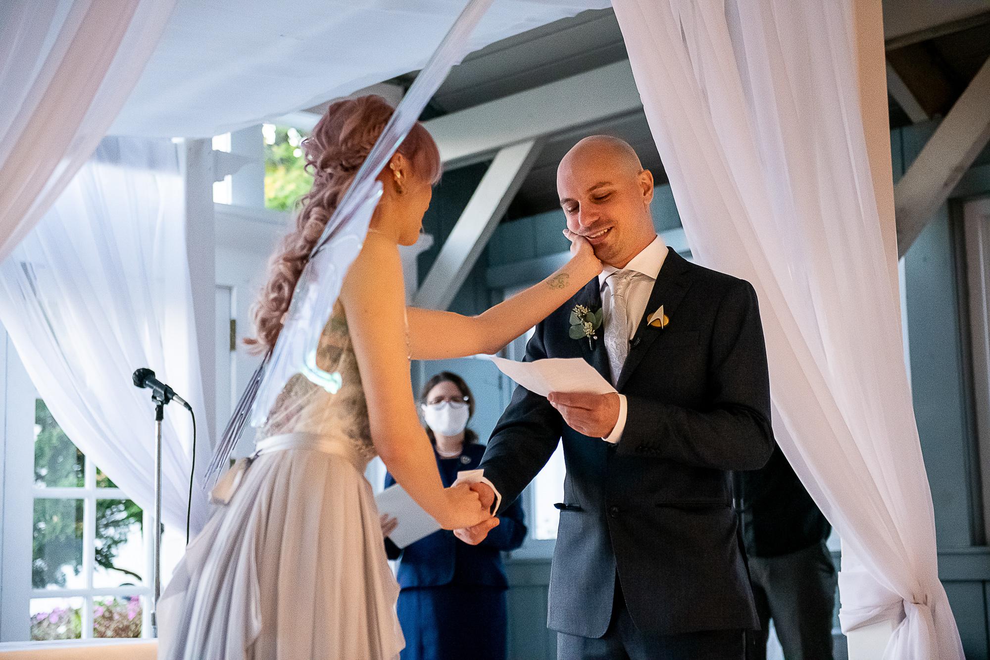 Victoria & Steve's Micro-Wedding at The Swan Club; photos by Christopher Duggan